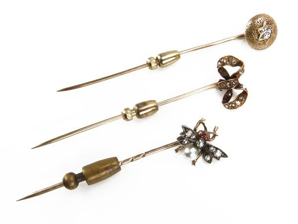 Lot of Three (3) 14 Karat Yellow Gold Tie Pins.