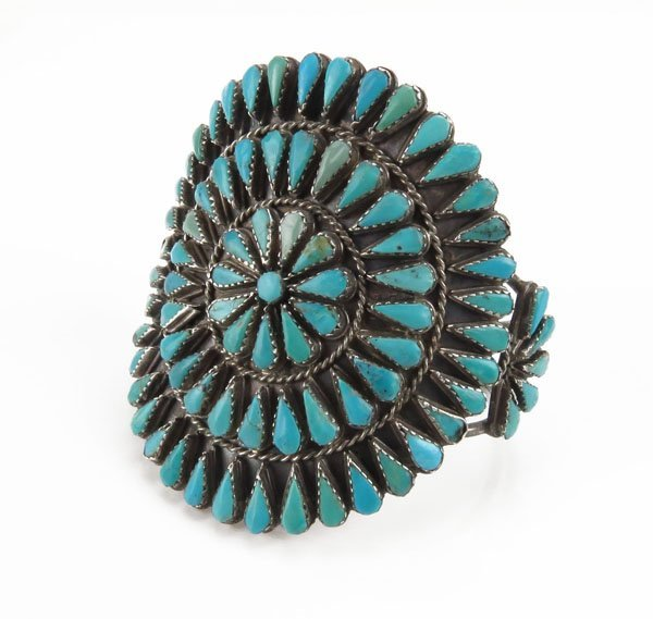 Large Navajo Old Pawn Sterling Silver and Turquoise
