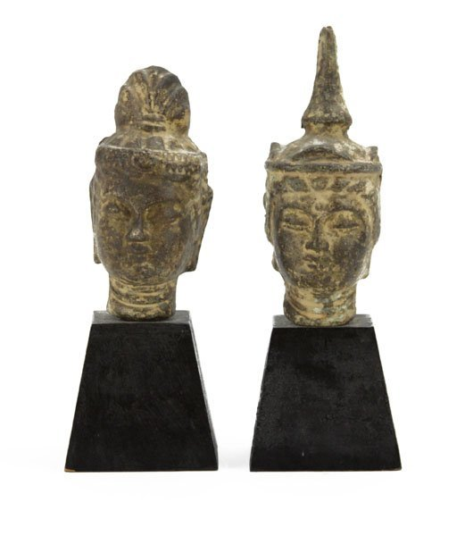 Lot of Two (2) Chinese Bronze Busts of Kwan Yin on Wood