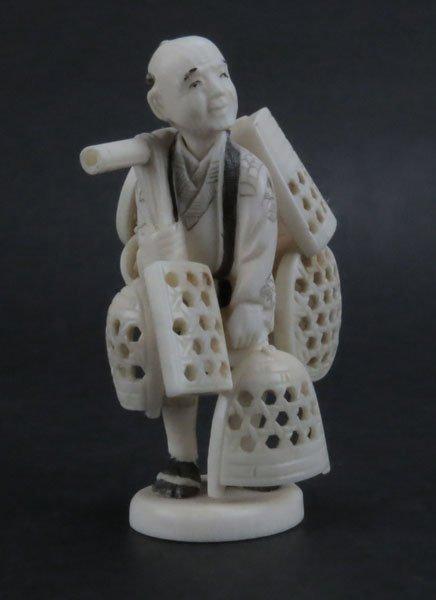 Antique Japanese Carved Polychromed Okimono Figure