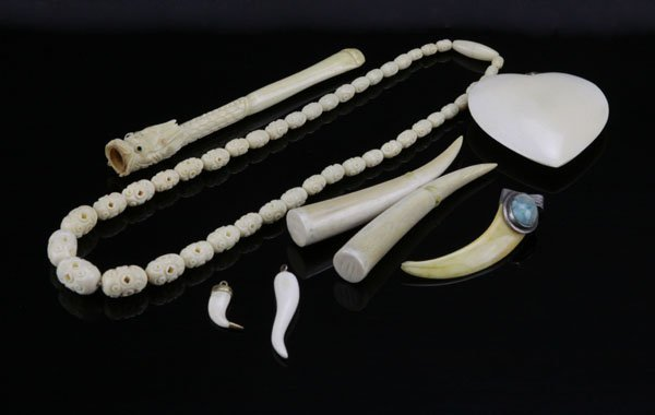 Lot of Assorted Ivory Pieces. Includes Heart with 14k C