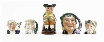Lot of Five 5 Royal Doulton Glazed Porcelain Toby Mug