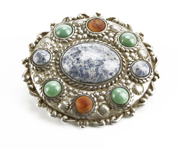 Sterling Silver Ornate Inlaid Brooch. Inlaid with