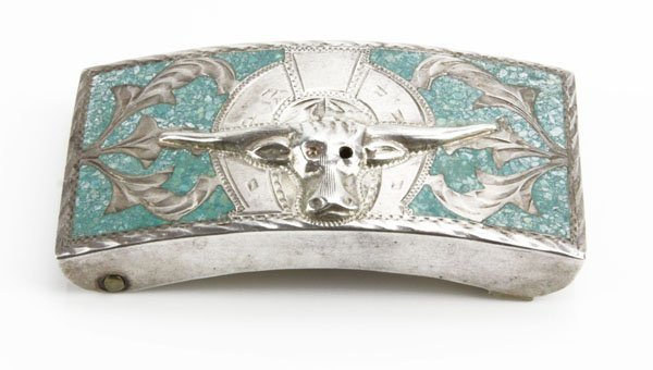 Mexican Sterling Silver and Turquoise Inlaid Mexican