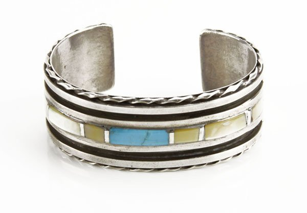 Sterling Silver Navajo Cuff Bracelet with Mother of