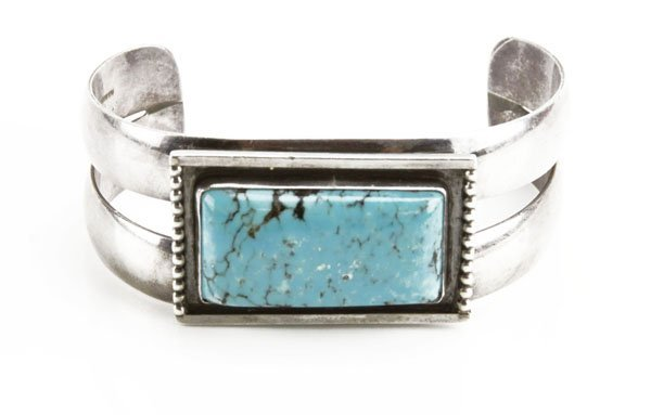 Sterling Silver Navajo Cuff Bracelet with Rectangular