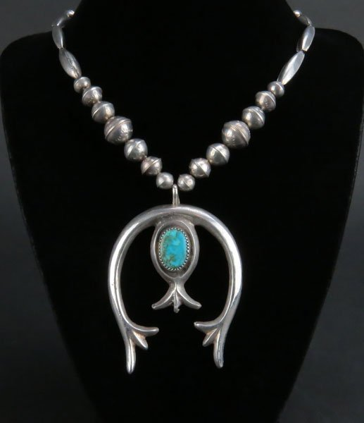 Sterling Silver Navajo Beaded Necklace with Turquoise