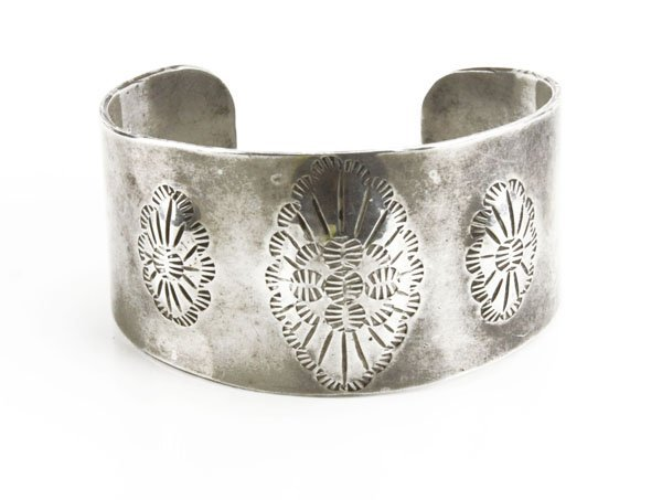 Sterling Silver Navajo Cuff Bracelet with Etched