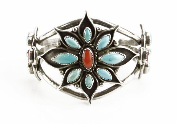 Sterling Silver Navajo Turquoise and Coral Inlaid Cuff