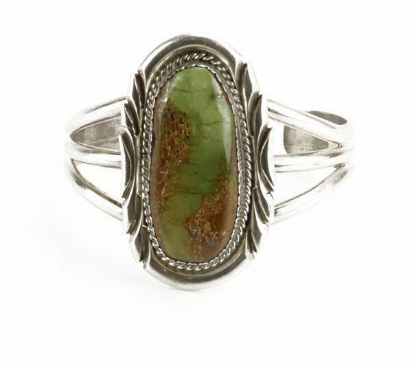 Sterling Silver Navajo Cuff Bracelet with Large Oval