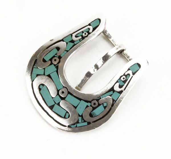 Taxco Sterling Silver Turquoise and Onyx Inlaid Belt