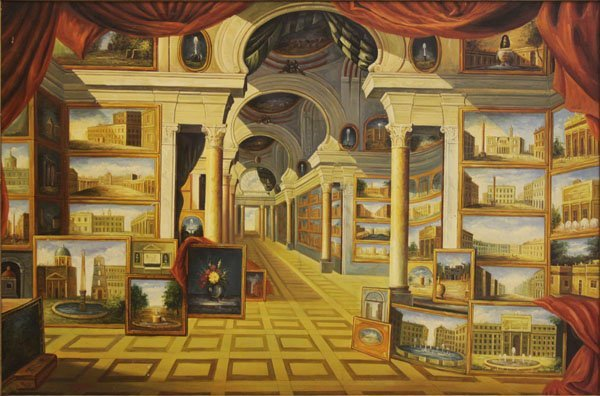Palace Size Oil Painting of an Art Museum. Depicts a