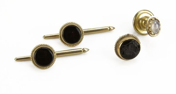 Collection of 14 Karat Yellow Gold Inlaid Tie-Tacks