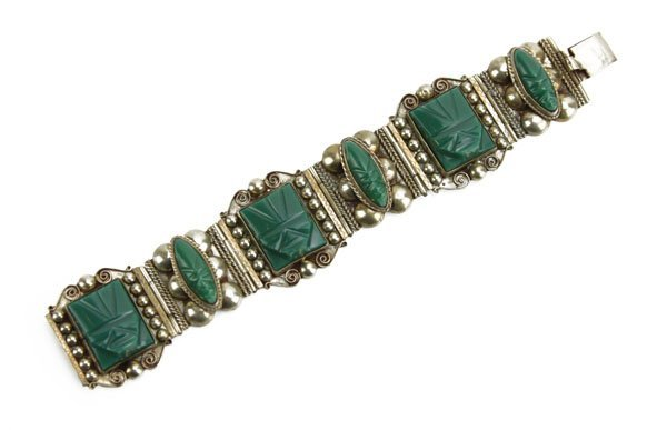Vintage Taxco Sterling Silver Bracelet Inlaid with