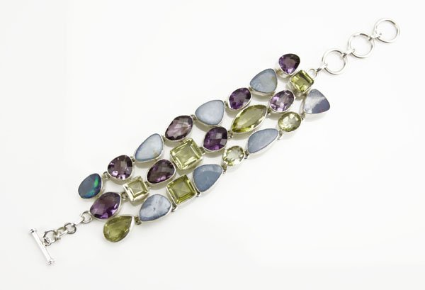 Sterling Silver Bracelet Inlaid with Semi-Precious