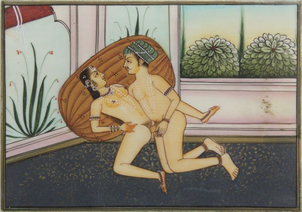 Antique Indian Erotic Hand Painted Scene on Ivory