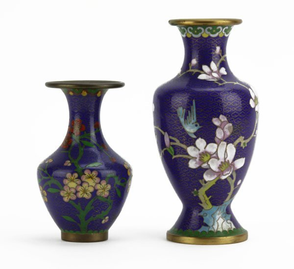 Two (2) Chinese Cloisonne Blue Ground Floral Decorated