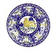 Old Spanish Faience Ceramic Plate with Bird Motif.