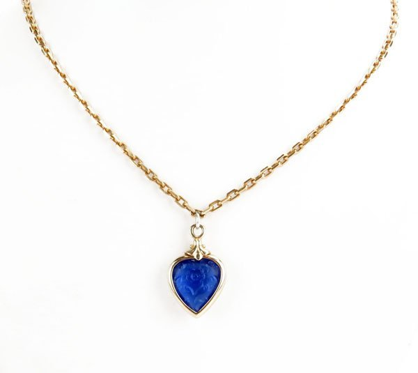 14 Karat Yellow Gold Necklace with Heart Shaped Pendant