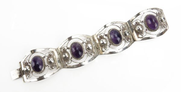Sterling Silver and Amethyst Bracelet. Stamped.