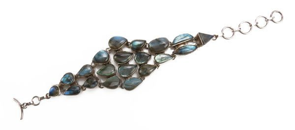 Sterling Silver and Abalone Bracelet. Unsigned, Tested.