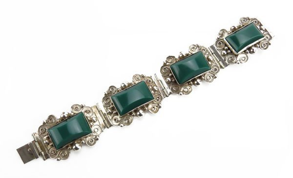 Mexican Sterling Silver and  Green Onyx Bracelet.