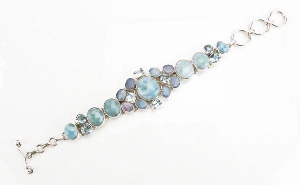 Sterling Silver Semi-Precious and Gemstone Bracelet.