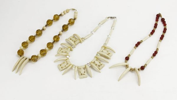 Lot of Three (3) Beaded and Bone Necklaces with Claw Pe