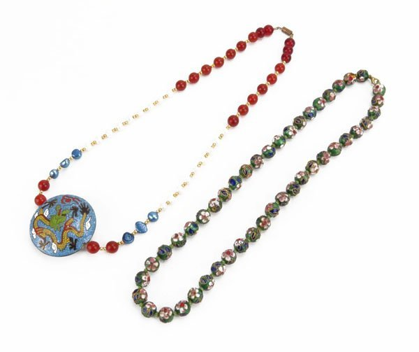 Oriental Beaded Necklace with Cloisonne Pendant along