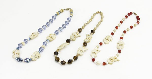 Lot of Three (3) Beaded and Carved Bone Necklace. Insee