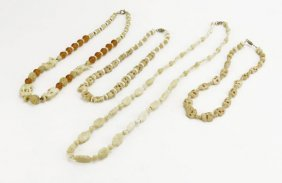 Lot Of Four (4) Carved Bone Breaded Necklaces. Good