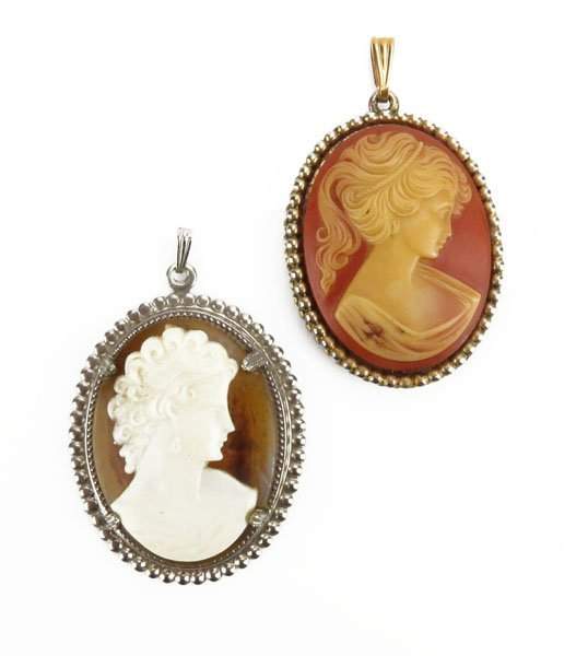 Lot of Two (2) Cameo Pendants. One (1) is Amber. Good