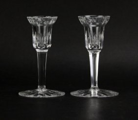 Pair Of Waterford Crystal Candlesticks. Acid Etched