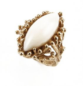 Art Nouveau 14 Karat Yellow Gold And White Coral Ring.