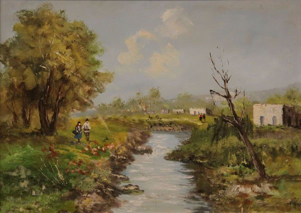 Oil of Canvas Painting of a Landscape Ravine Scene. Uns
