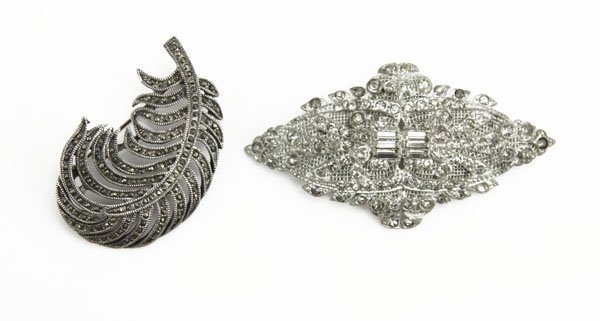 Lot of Two (2) Marcasite Pins. Some Slightly, Wear  or