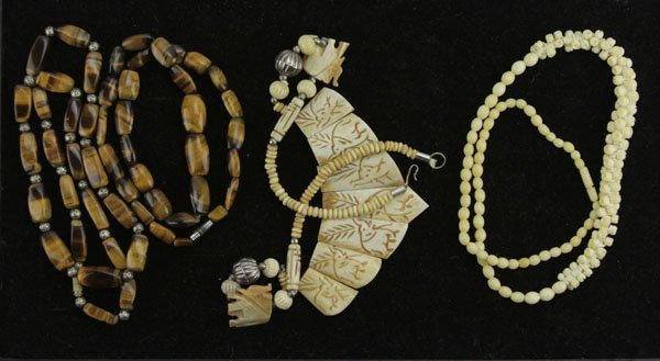 Lot of Two (2) Tiger Eye and Two (2) Carved Bone