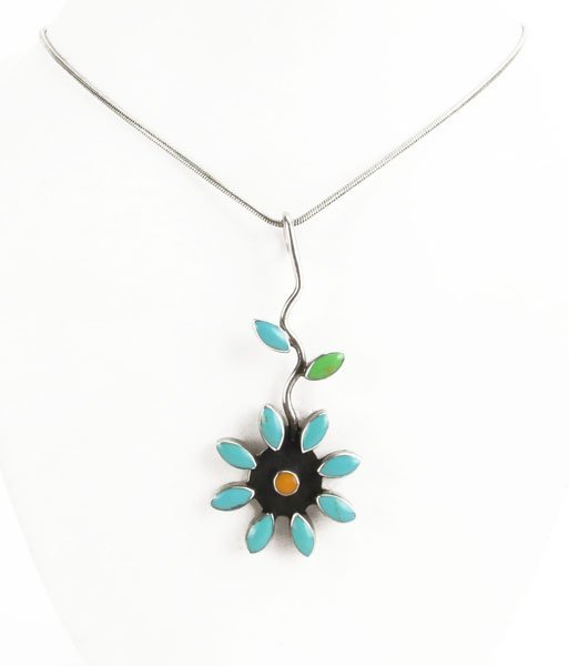 Sterling Silver Necklace with Mexican Inlaid Floral