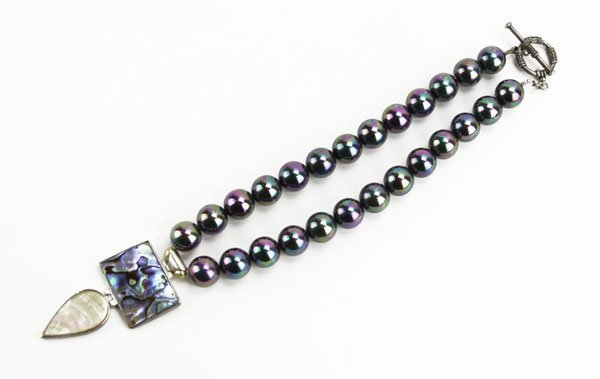 Contemporary Beaded Necklace with Abalone and Mother of