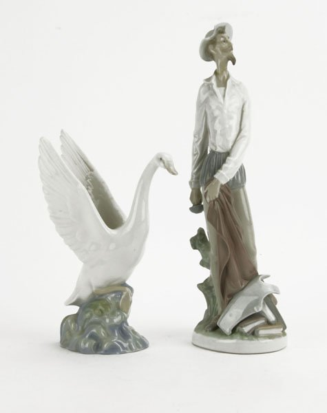 Lladro Don Quixote Figure along with Nau Swan Figure.