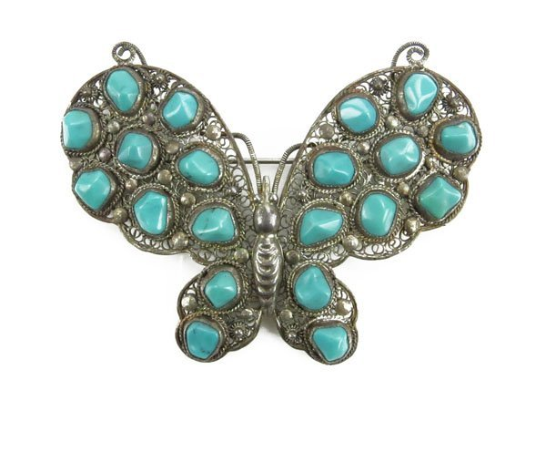 Vintage Silver and Turquoise Butterfly Pin. Stamped Sil