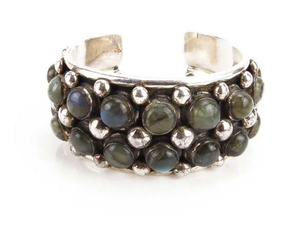 Sterling Silver and Abalone Cuff Bracelet. Tarnished or