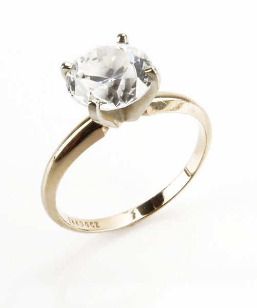 14 Karat Yellow Gold Engagement Ring with 1.5 CZ Stone.