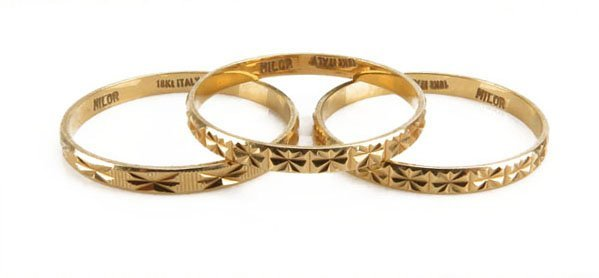 Lot of Three (3) Milor 18 Karat Yellow Gold Matching Ri