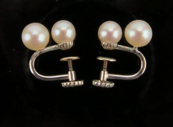 14 Karat White Gold and Pearl Screw Back Earrings. Stam