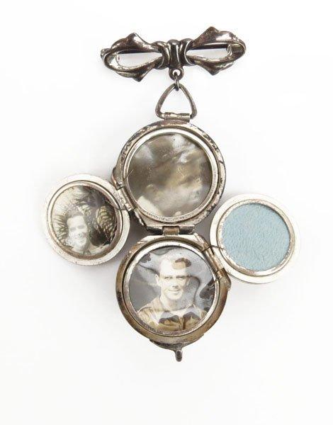 Antique Sterling Silver Ball Locket Pin. Stamped. Tarni