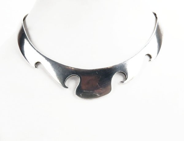 Sterling Silver Choker Necklace. Stamped. Tarnished or