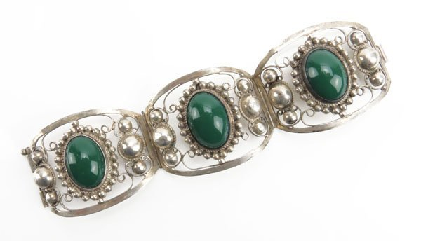 Mexican Sterling Silver and Green Onyx Bracelet. Some