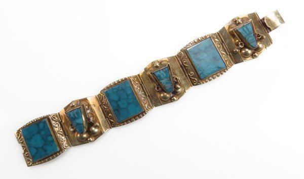 Mexican Bracelet with Turquoise Inlay. Some Minor