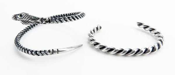 Two (2) Sterling Silver Cuff Bracelets. Unsigned.